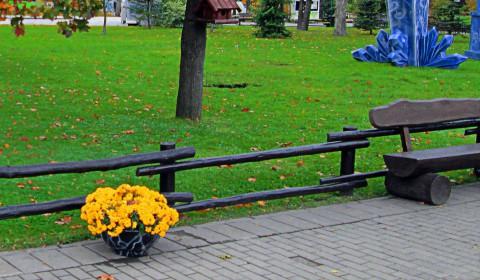 Пазл с клумбой у скамейки